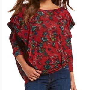 NWT Free People Dock Street Red Floral Top